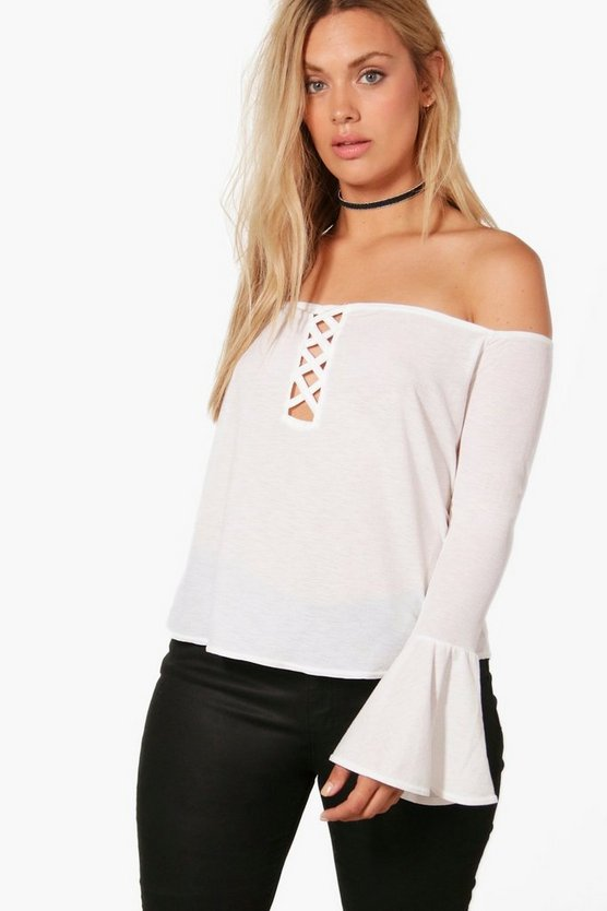 Plus Leila Lace Up Front Off The Shoulder Top