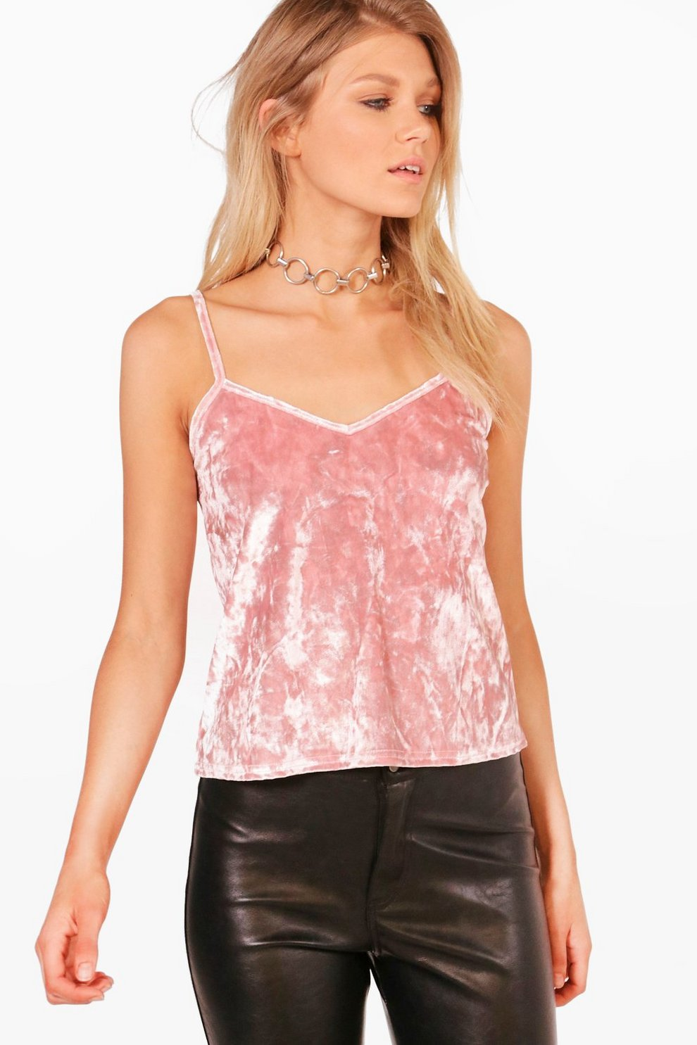 7242f1acf Petite Shelly Crushed Velvet Cami Top | Boohoo