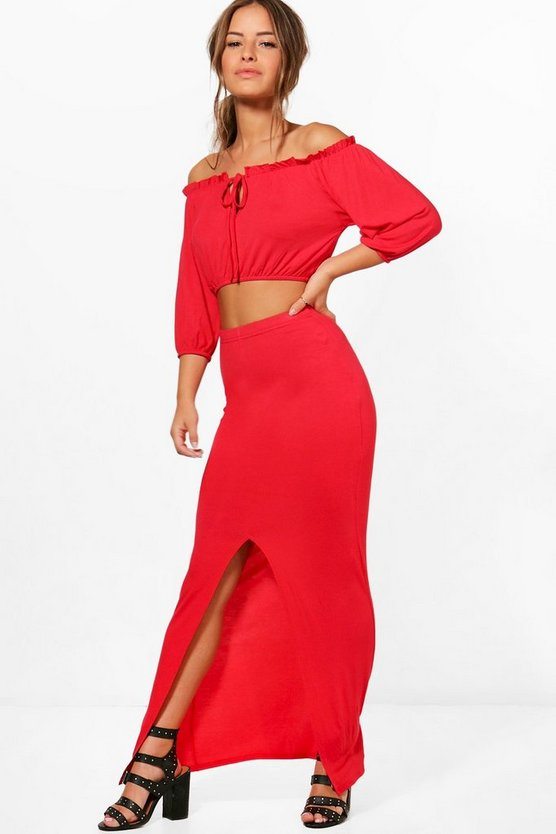 Petite Teri Off The Shoulder + Maxi Skirt Co-Ord