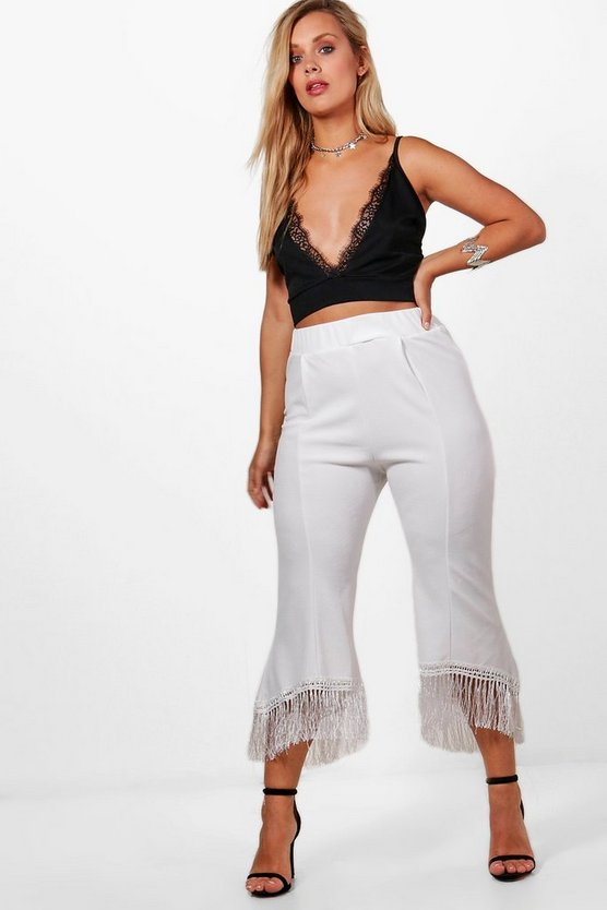 Plus Tassel Trim Culotte Trouser