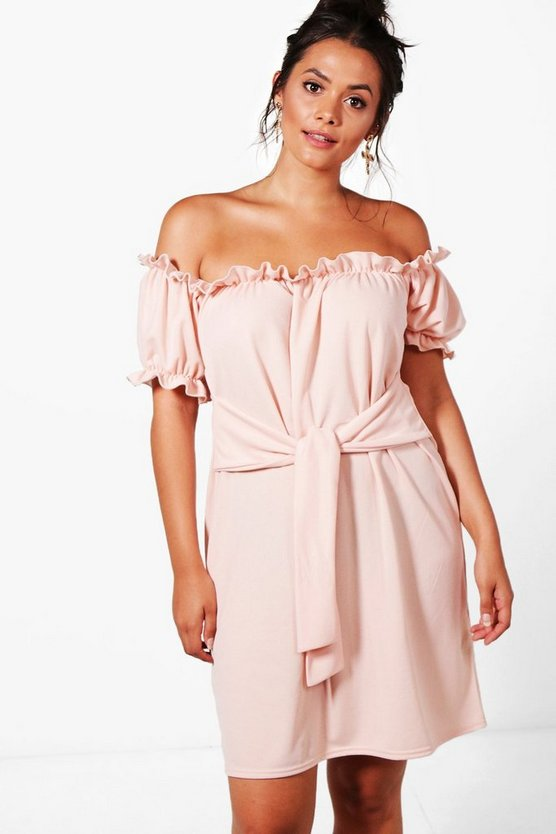 Plus Lucie Off The Shoulder Tie Waist Shift Dress