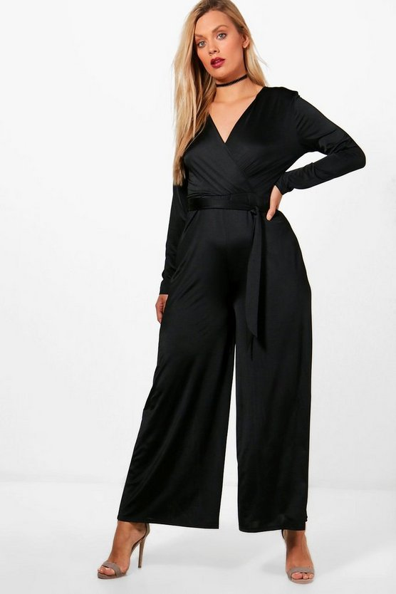 Plus Anna Slinky Wrap Over Tie Waist Jumpsuit