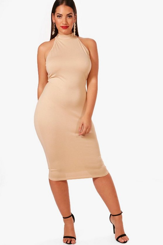 Plus Hayley Crepe High Neck Midi Dress