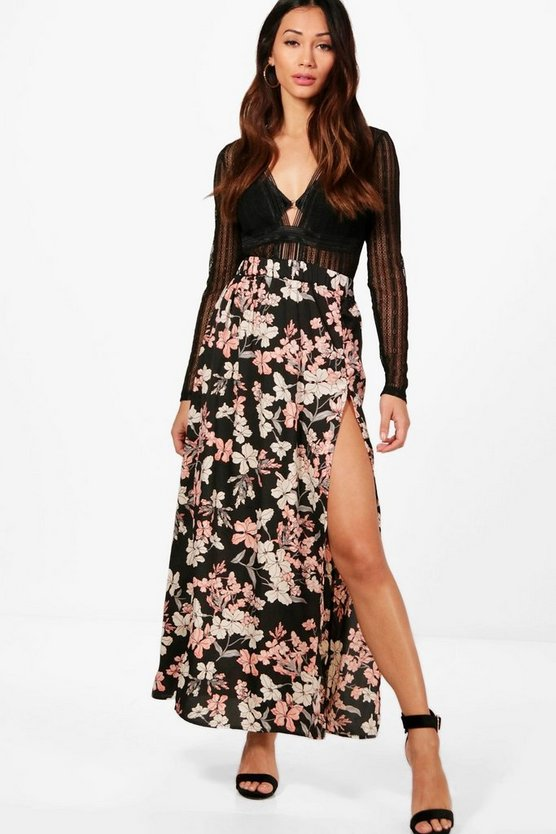 Petite Floral Woven Maxi Skirt