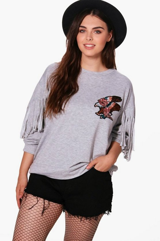 Plus Carla Fringe Embroidered Sweat