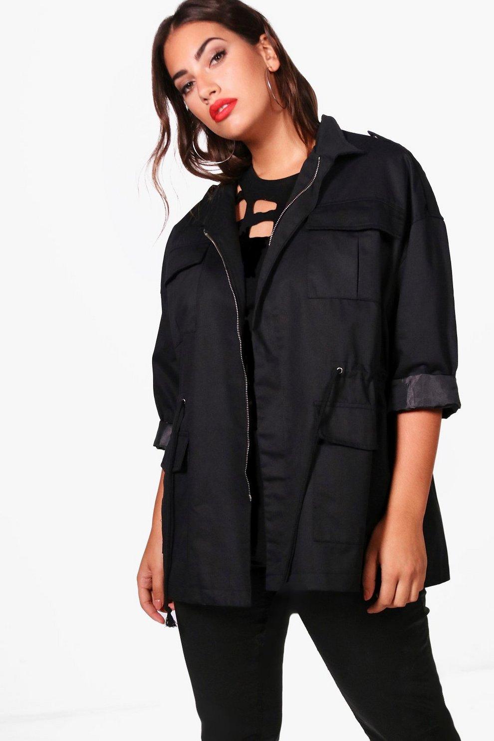 Black lightweight utility parka jacket