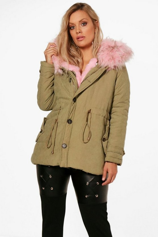 Plus Faux Fur Collar Parka