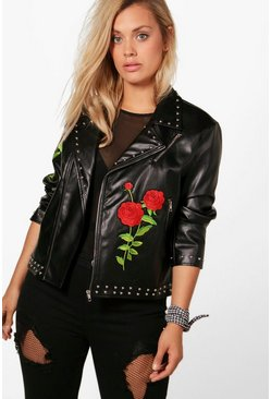 Womens Black Plus Embroidered Studded Biker Jacket