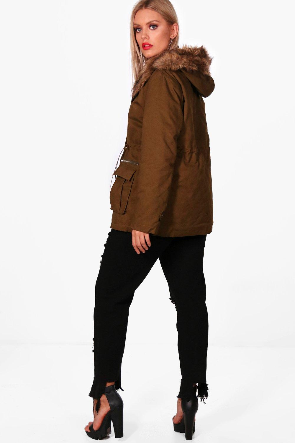 Boohoo Plus Faux Fur Detail Oversized Parka Cheap Sale Extremely Buy Cheap Cheap AALeU