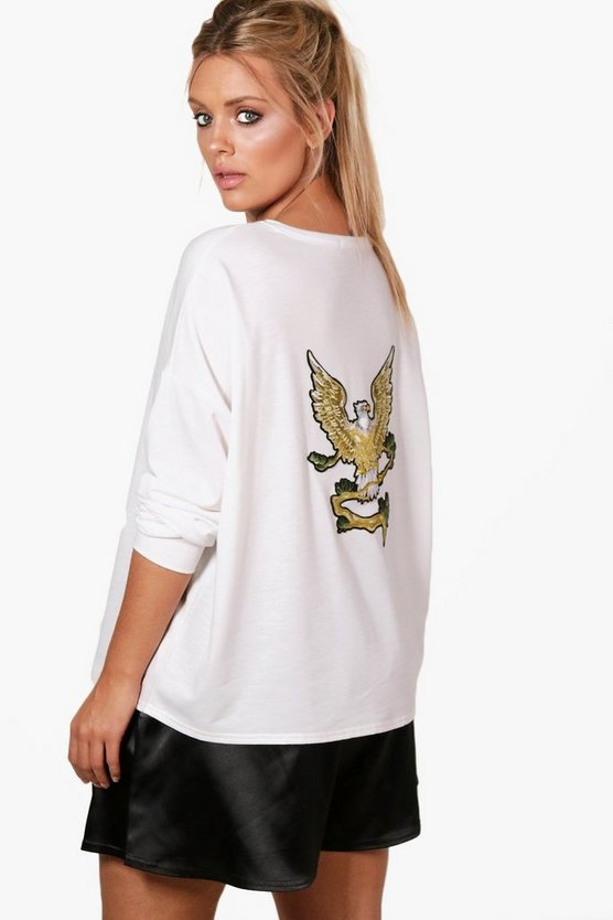 Plus Grace Eagle Back Sweat Top