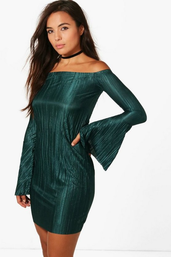 Petite Liv Pleated Bardot Flute Sleeve Shift Dress