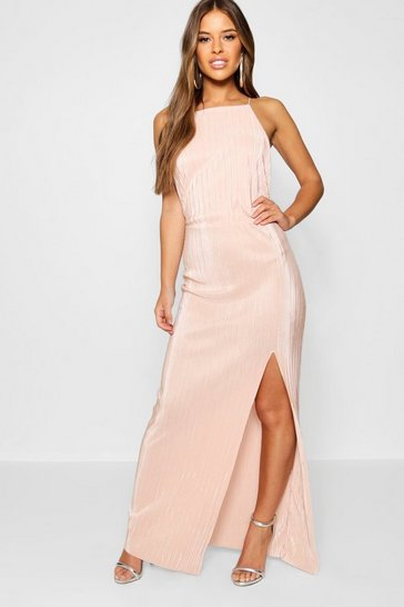 Blush Petite  Pleated Thigh Split Maxi Dress