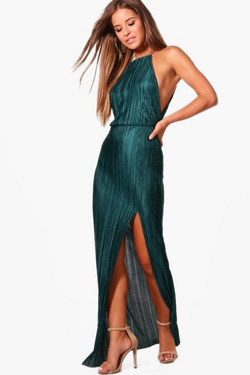 Green Petite  Pleated Thigh Split Maxi Dress