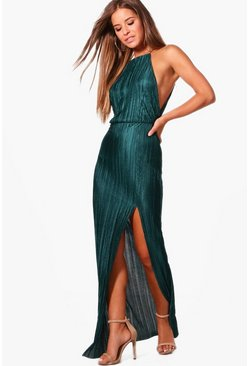 Womens Green Petite Pleated Thigh Split Maxi Dress