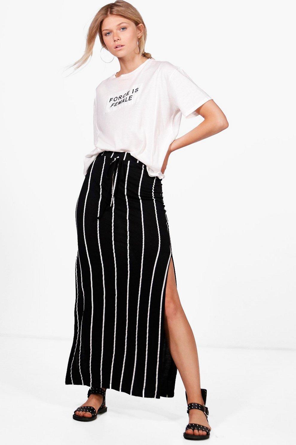 56c6027dc4 Petite Holly Striped Side Split Jersey Maxi Skirt | Boohoo