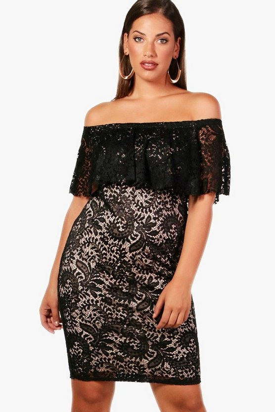 Plus Natalie Lace Double Layer Midi Dress