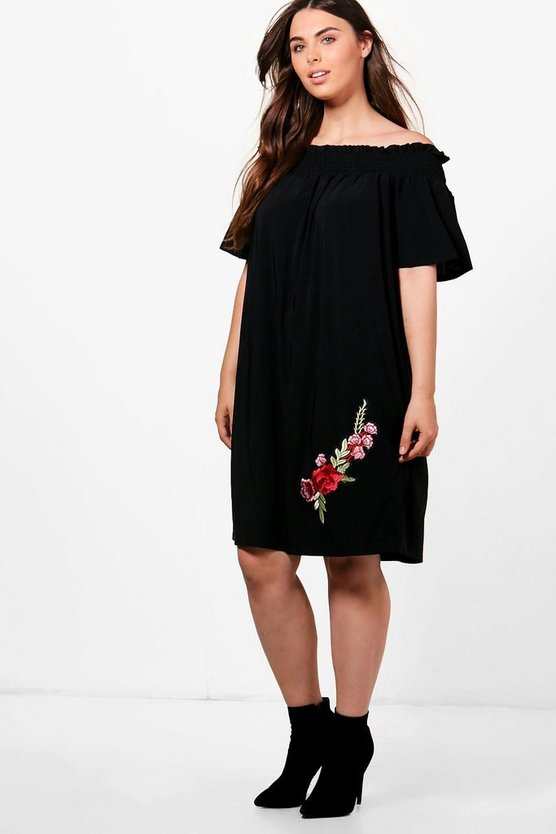 Womens Black Plus Lisa Off The Shoulder Printed Swing Dress