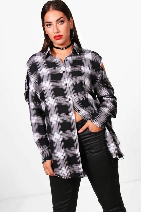 Plus Check Studded Cold Shoulder Long Shirt