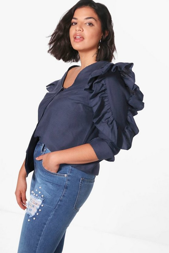 Plus Ruffle Sleeve Button Through Blouse