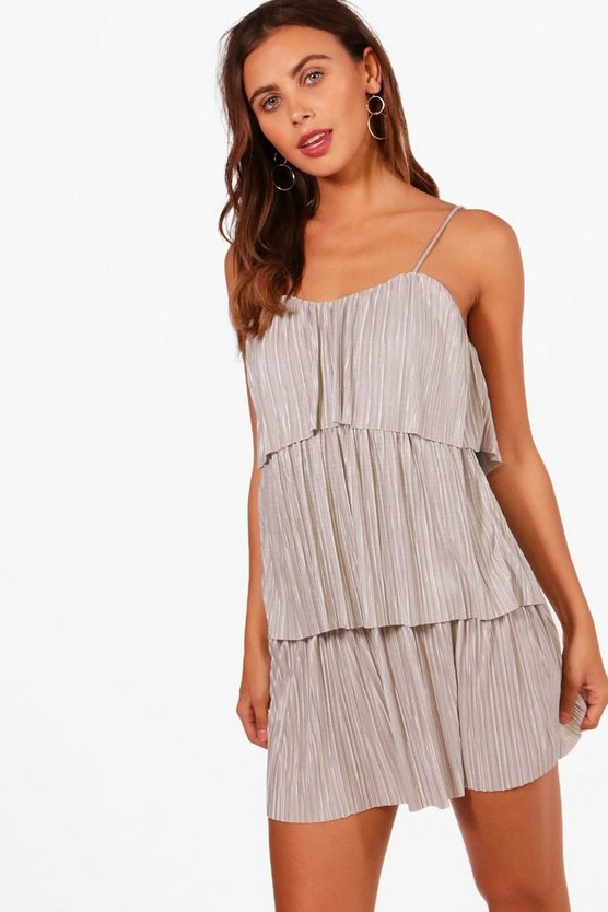 Womens Petite Tiered Pleated Dress