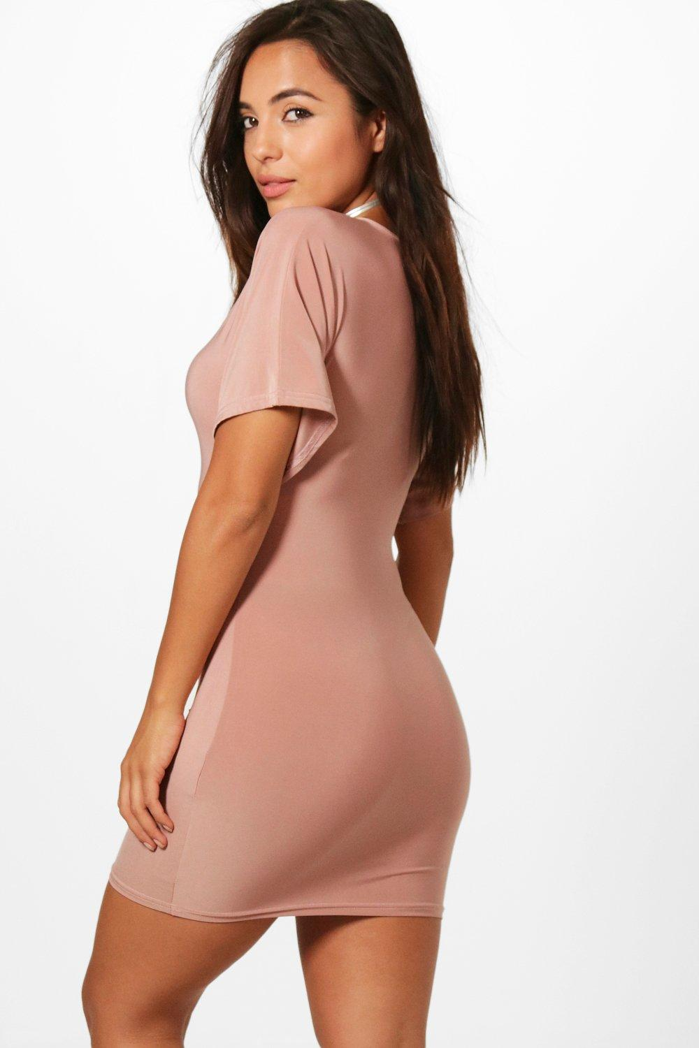 Boohoo-Petite-Demi-Ruched-Pront-Slinky-Dress-para-Mujer