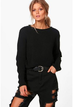 Womens Black Petite Roll Hem Cropped Sweater