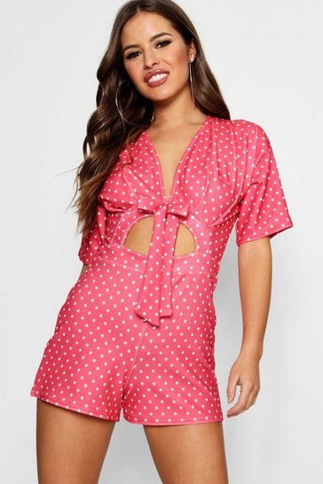 Womens Pink Petite Spot Print Knot Front Playsuit
