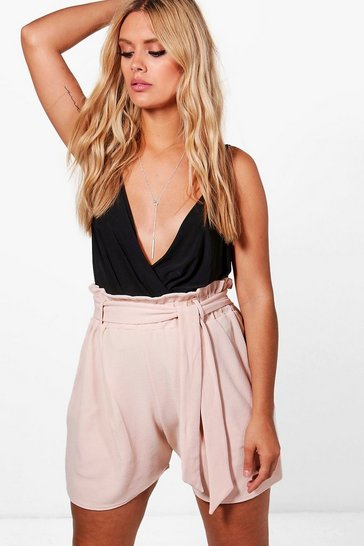 Womens Nude Plus Paper Bag Waist Tailored Short