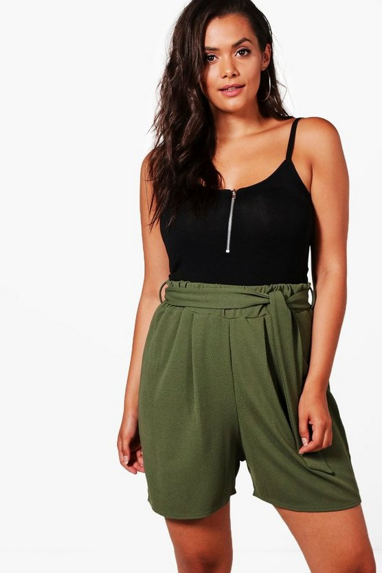 Plus Lucy Tie Belt Pleated Shorts