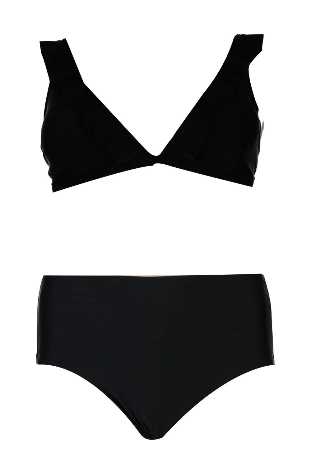 black Frill Plus High Waist Trim Bikini qgw7wXd