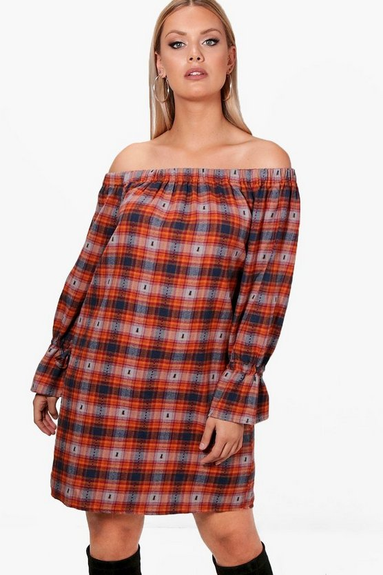 Plus Checked Embroidered Dress