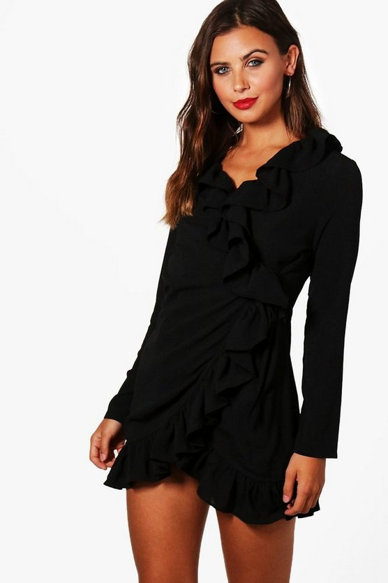 Petite Wrap Front Frill Woven Dress