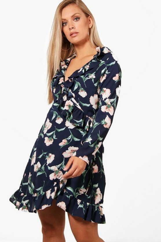 Plus Frill Wrap Floral Printed Tea Dress
