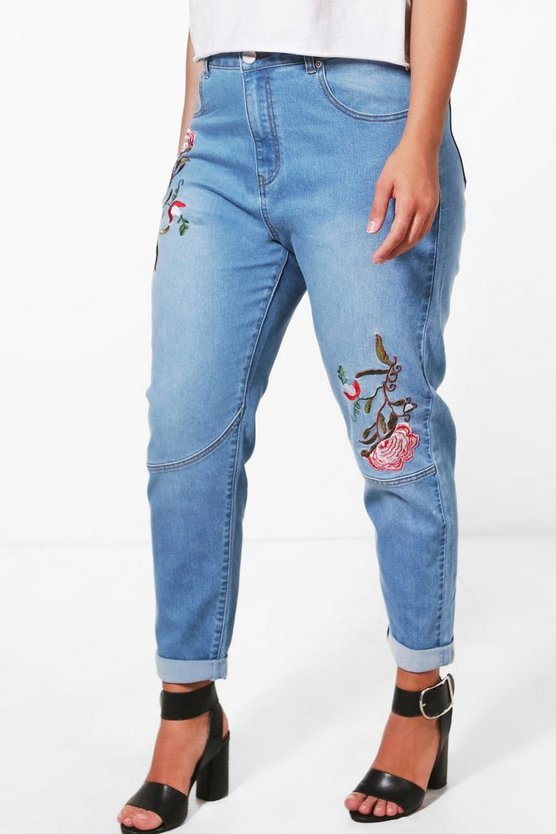 Womens Blue Plus Orla Embroidered Skinny Jean