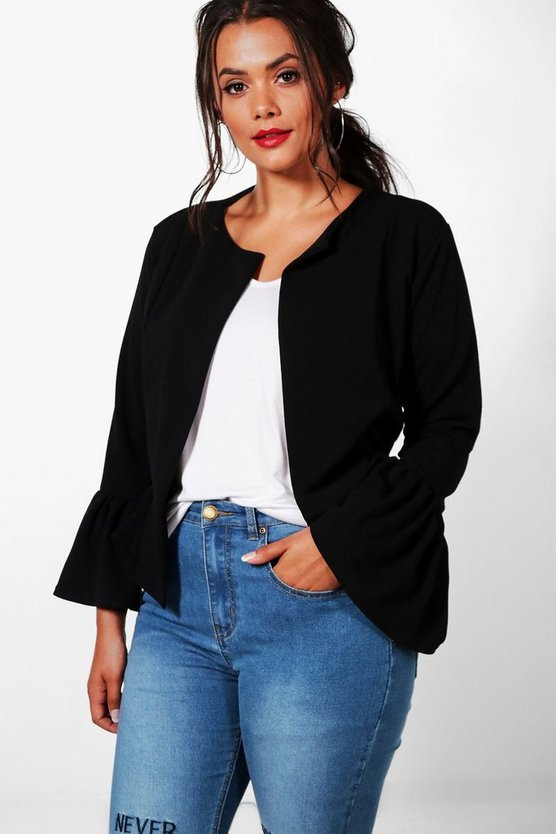 Womens Black Plus Ruffle Hem Collarless Jacket