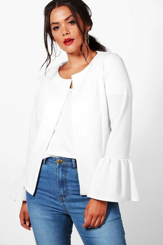 Plus Ruffle Hem Collarless Jacket