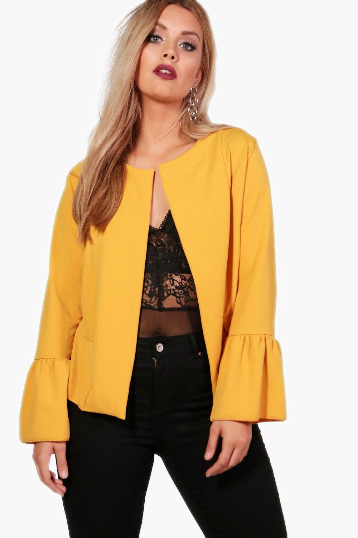 Ruffle Hem mustard Plus Collarless Jacket 4qUTU