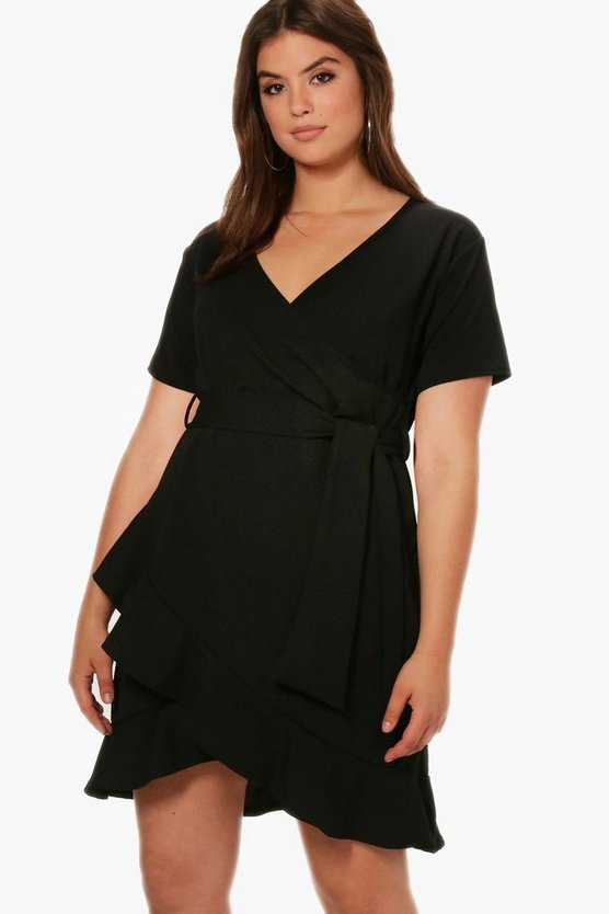 Plus Maria Ruffle Wrap Cap Sleeve Dress