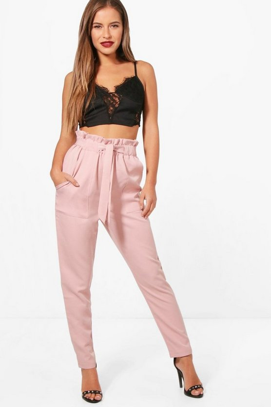 Petite Premium Amy Paper Bag Waist Belted Trouser