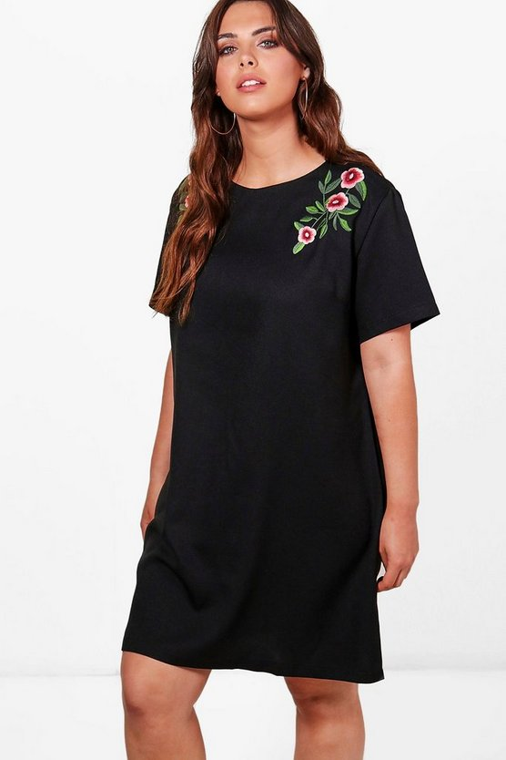 Womens Black Plus Hollie Embroidered Woven Shift Dress
