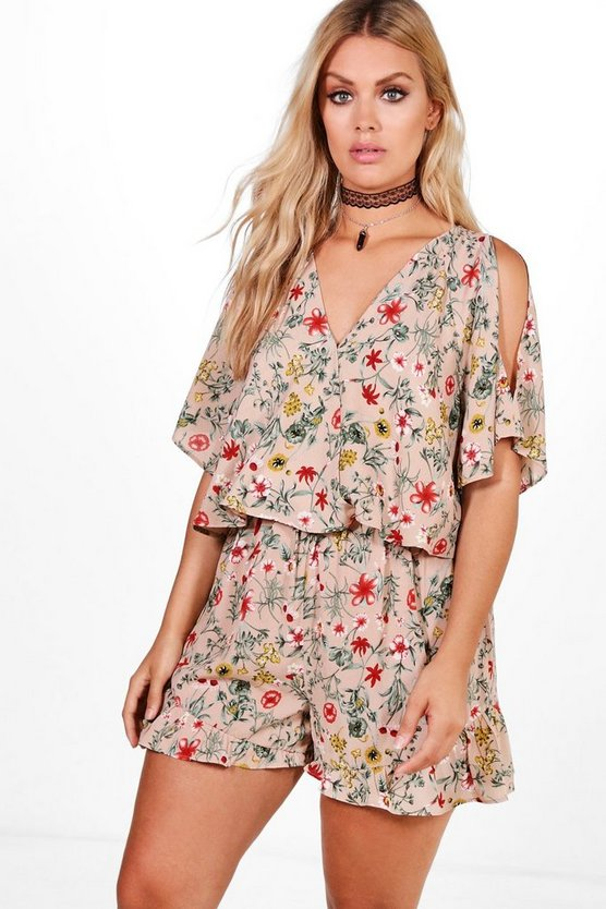 Plus Anya Floral Print Playsuit