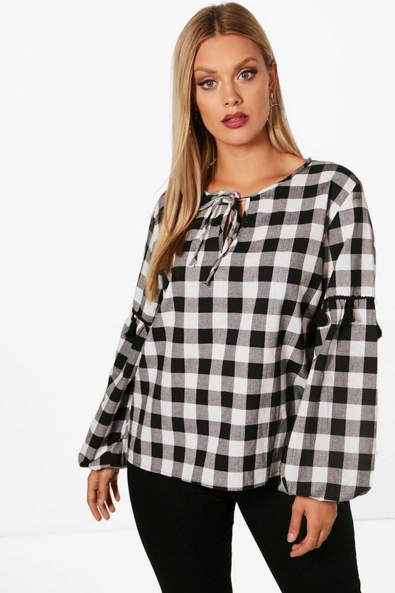 Plus Clara Gingham Smock Top