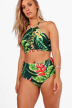 Vintage Bathing Suits | Retro Swimwear | Vintage Swimsuits Plus Tropical Print Lace Up High Waist Bikini $44.00 AT vintagedancer.com