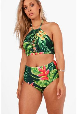 Womens Multi Plus Tropical Print Lace Up High Waist Bikini