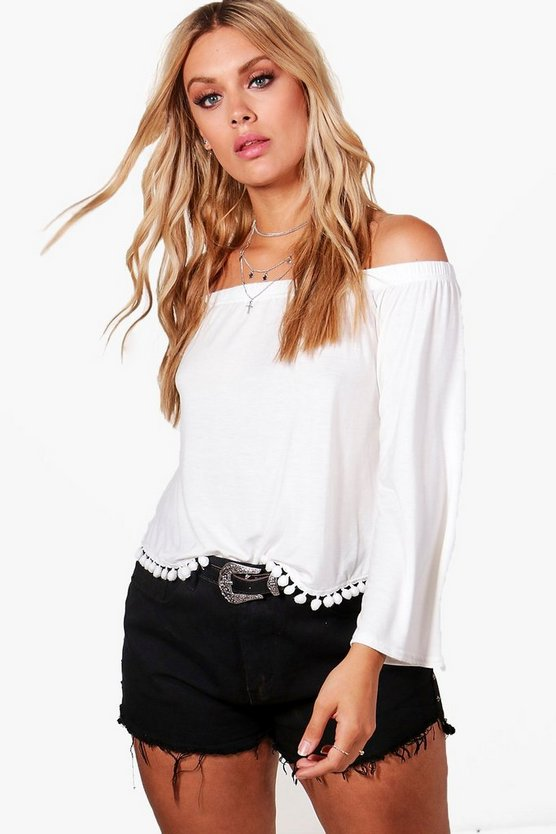 Plus Jodie Off The Shoulder Pom Pom Trim Top
