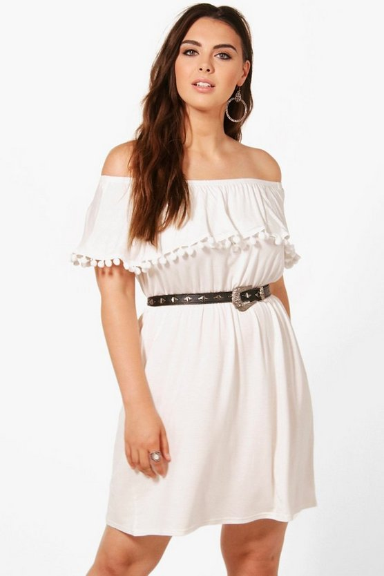 Plus Zoe Off The Shoulder Pom Pom Trim Dress