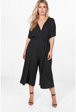 Womens Black Plus Jersey Kimono Sleeve Wrap Jumpsuit