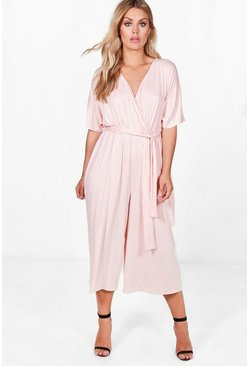 Womens Blush Plus Jersey Kimono Sleeve Wrap Jumpsuit