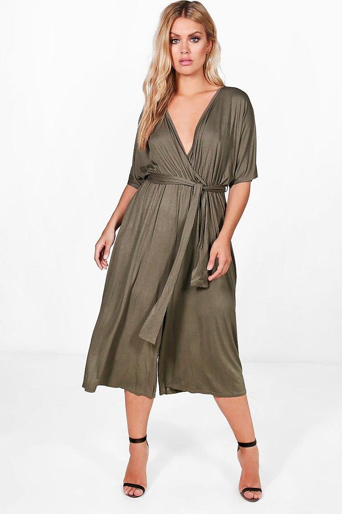 Plus Jersey Kimono Sleeve Wrap Jumpsuit | boohoo