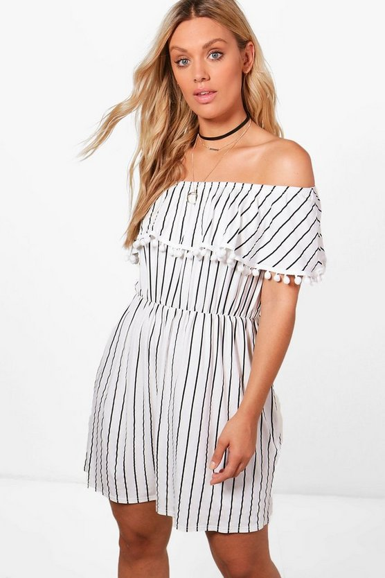 Plus Kirsten Pom Pom Trim Stripe Bardot Dress